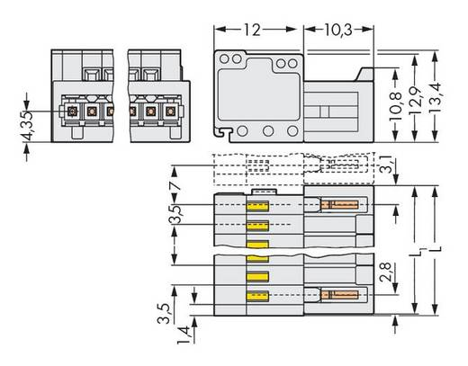 WAGO Stiftleiste (Standard) 2140 Polzahl Gesamt 8 Rastermaß: 3.50 mm 734-308 50 St.