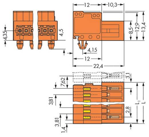 WAGO Stiftleiste (Standard) 2140 Polzahl Gesamt 9 Rastermaß: 3.81 mm 734-339/018-000 50 St.