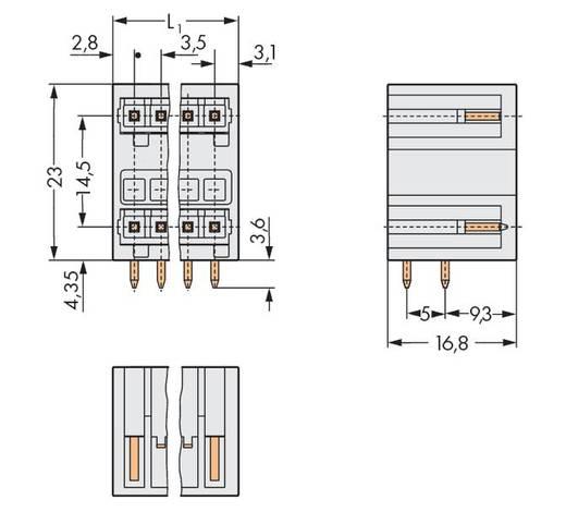 WAGO Stiftleiste (Standard) 2140 Polzahl Gesamt 18 Rastermaß: 3.50 mm 734-409 50 St.
