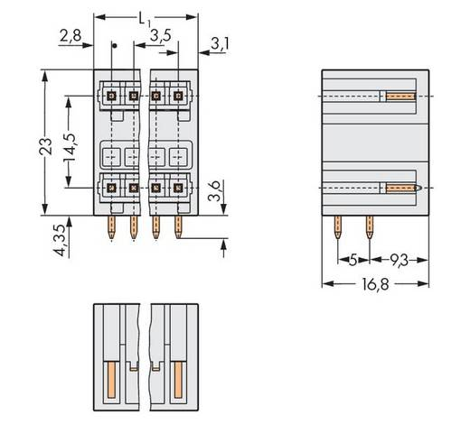 WAGO Stiftleiste (Standard) 2140 Polzahl Gesamt 6 Rastermaß: 3.50 mm 734-403 100 St.