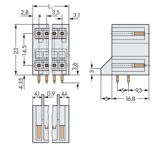 Stiftleiste (Standard) 2140 Polzahl Gesamt 18 WAGO 734-409/001-000 Rastermaß: 3.50 mm 50 St.