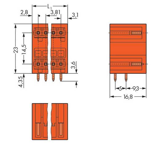 WAGO 734-432 Stiftleiste (Standard) 2140 Polzahl Gesamt 4 Rastermaß: 3.81 mm 100 St.