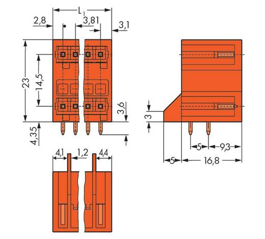 Stiftleiste (Standard) 2140 Polzahl Gesamt 4 WAGO 734-432/001-000 Rastermaß: 3.81 mm 100 St.
