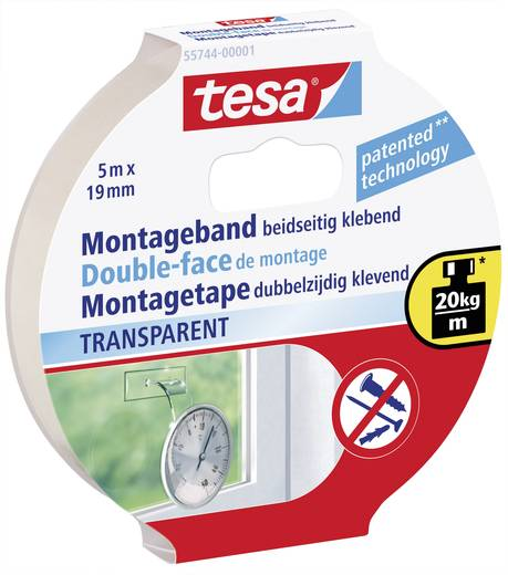 tesa 55744 Montageband tesa® POWERBOND Transparent (L x B) 5 m x 19 ... d545d4d44cc8d