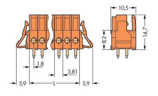 WAGO Buchsengehäuse-Platine 734 Polzahl Gesamt 2 Rastermaß: 3.81 mm 734-502/037-000 100 St.