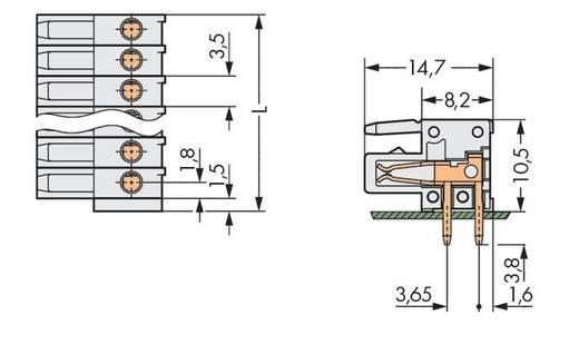 WAGO Buchsengehäuse-Platine 734 Polzahl Gesamt 20 Rastermaß: 3.50 mm 734-550 25 St.