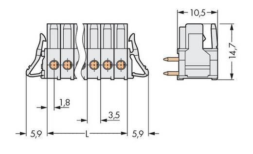 Buchsengehäuse-Platine 734 Polzahl Gesamt 4 WAGO 734-534/037-000 Rastermaß: 3.50 mm 100 St.