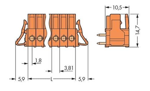 WAGO Buchsengehäuse-Platine 734 Polzahl Gesamt 8 Rastermaß: 3.81 mm 734-568/037-000 50 St.