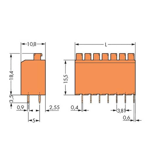 Federkraftklemmblock Polzahl 6 PUSHWIRE PCB TERM. 6 POLE 3.81mm PIT WAGO Orange 220 St.