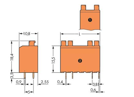 Federkraftklemmblock Polzahl 4 735-126/001-000 WAGO Orange 220 St.