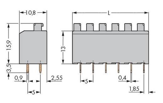 Federkraftklemmblock Polzahl 2 PUSHWIRW PCB TERM 2 POLE WAGO Grau 500 St.