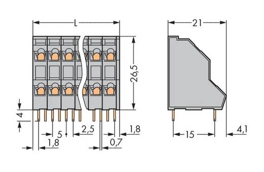 Doppelstockklemme 2.50 mm² Polzahl 16 736-208 WAGO Grau 42 St.