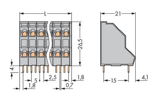Doppelstockklemme 2.50 mm² Polzahl 4 WAGO Grau 161 St.