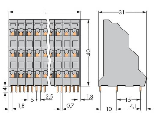 Dreistockklemme 2.50 mm² Polzahl 12 PCB TRIPLE DECK TERMINAL STRIPS 4 P WAGO Grau 48 St.