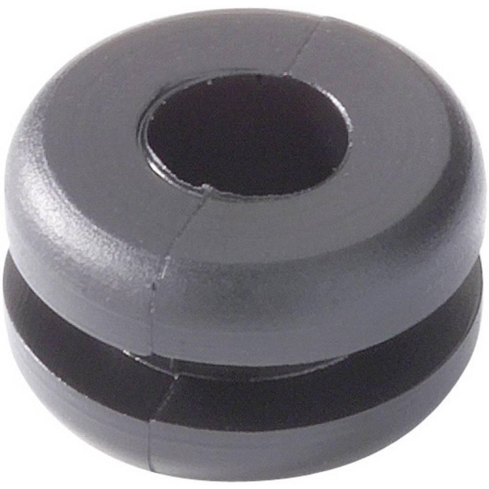 HellermannTyton 633-01010 HV1101-PVC-BK-D1 Grommet Black (Ø x