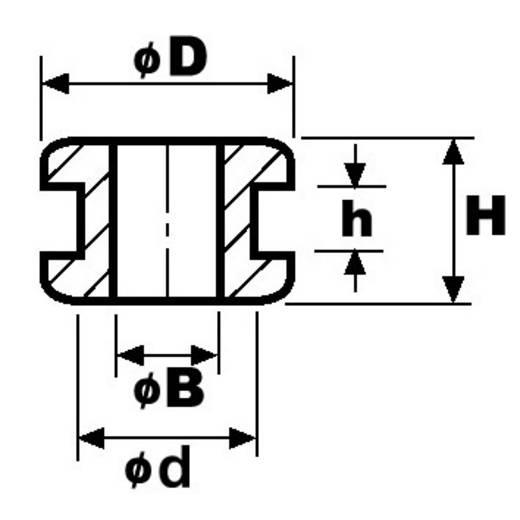 HellermannTyton HV1207-PVC-BK-M1 Kabeldurchführung Klemm-Ø (max.) 6 mm PVC Schwarz 1 St.