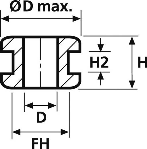 HellermannTyton HV1218-PVC-BK-M1 Kabeldurchführung Klemm-Ø (max.) 6 mm PVC Schwarz 1 St.