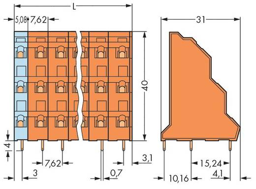 Dreistockklemme 2.50 mm² Polzahl 6 737-602 WAGO Orange 76 St.