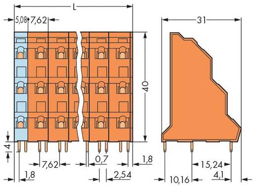 Dreistockklemme 2.50 mm² Polzahl 9 WAGO Orange 48 St.