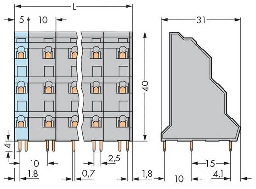 Dreistockklemme 2.50 mm² Polzahl 18 737-756 WAGO Grau 16 St.