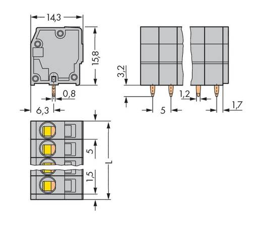 Federkraftklemmblock 2.50 mm² Polzahl 15 739-115 WAGO Grau 60 St.