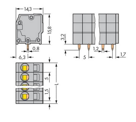 Federkraftklemmblock 2.50 mm² Polzahl 15 WAGO Grau 60 St.