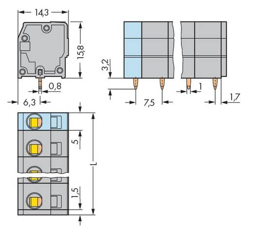 Federkraftklemmblock 2.50 mm² Polzahl 6 KLEMMENL.F.LEITERPL 7,5MM 6-POL.GREY WAGO Grau 100 St.