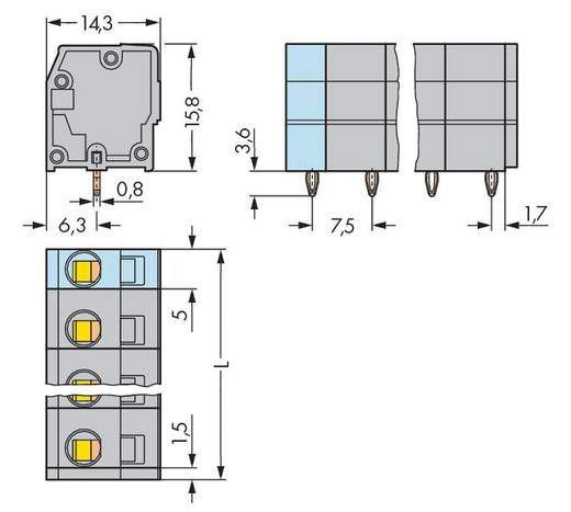 Federkraftklemmblock 2.50 mm² Polzahl 4 739-204/100-000 WAGO Grau 160 St.