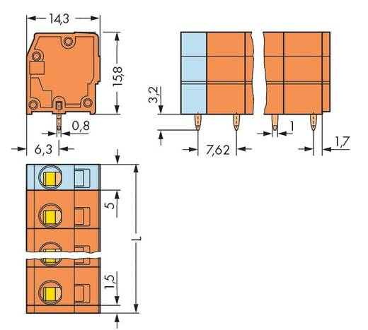 Federkraftklemmblock 2.50 mm² Polzahl 3 KLEMMENL.F.LEITERPL 7,62 3-P.ORANGE WAGO Orange 220 St.