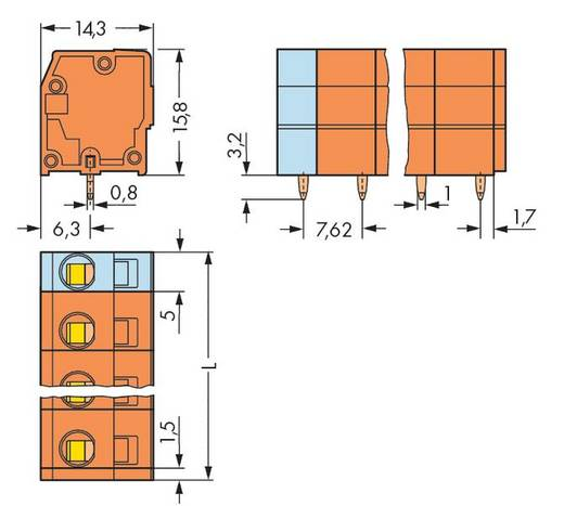 Federkraftklemmblock 2.50 mm² Polzahl 6 739-236 WAGO Orange 100 St.
