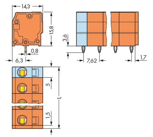 Federkraftklemmblock 2.50 mm² Polzahl 4 WAGO Orange 160 St.