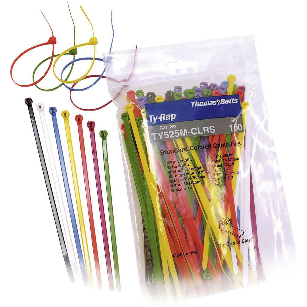 Cable tie 186 mm Black, Brown, Red, Orange, Yellow, Green, Blue ...