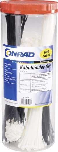 Kabelbinder-Sortiment 300 mm Schwarz, Natur Conrad Components 544979 500 St.