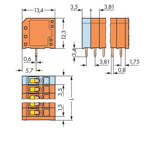 Federkraftklemmblock 1.50 mm² Polzahl 4 739-334 WAGO Orange 280 St.