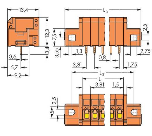 Federkraftklemmblock 1.50 mm² Polzahl 4 739-334/001-000 WAGO Orange 140 St.