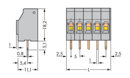 Federkraftklemmblock 2.50 mm² Polzahl 12 740-112/000-021 WAGO Licht-Grau 60 St.