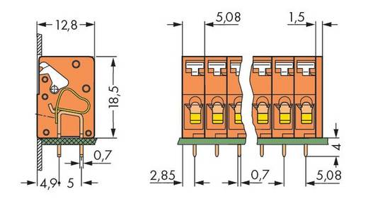 Federkraftklemmblock 2.50 mm² Polzahl 5 741-205 WAGO Orange 180 St.