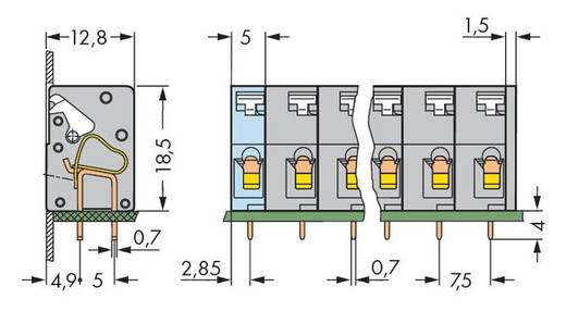 Federkraftklemmblock 2.50 mm² Polzahl 8 741-308 WAGO Grau 80 St.