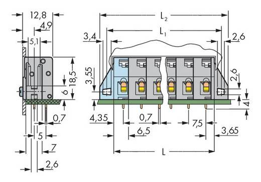 Federkraftklemmblock 2.50 mm² Polzahl 4 WAGO Grau 100 St.