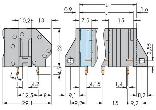 Federkraftklemmblock 6.00 mm² Polzahl 2 WAGO Grau 64 St.