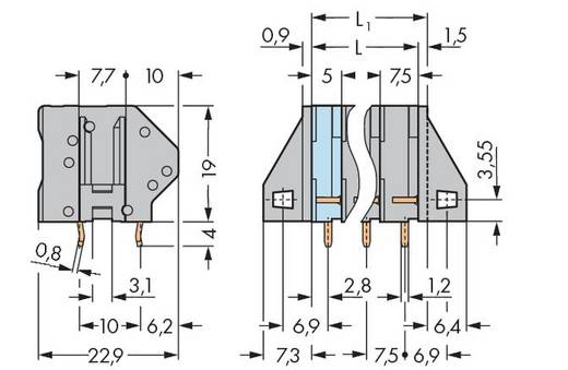 Federkraftklemmblock 4.00 mm² Polzahl 6 745-156 WAGO Grau 60 St.