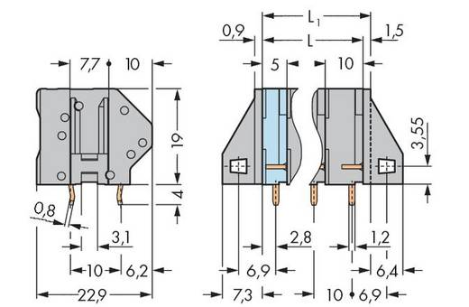 Federkraftklemmblock 4.00 mm² Polzahl 6 745-206 WAGO Grau 40 St.