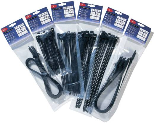Kabelbinder 340 mm Schwarz Lösbar, Hitzestabilisiert, UV-stabilisiert, Sehr flexibel, mit Rückschlauföse HellermannTyton 115-11350 SOFTFIX-L-TPU-BK-W 6 St.