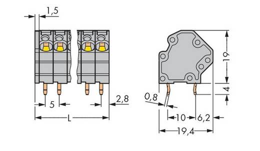 Federkraftklemmblock 4.00 mm² Polzahl 12 GDS-KLEMMENL.4QMM 12-POL. 5MM O.BR. WAGO Grau 48 St.