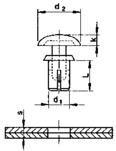 Spreizniete Loch-Ø 3.05 mm Schwarz PB Fastener 409531 1 St.