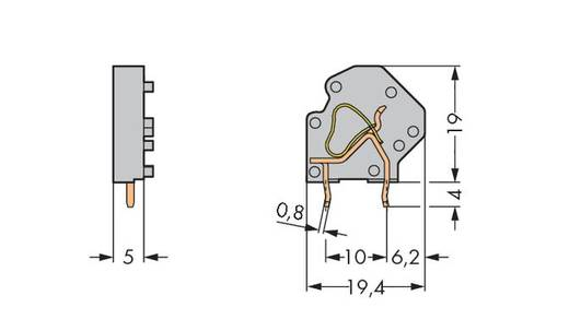 Federkraftklemmblock 4.00 mm² Polzahl 1 745-3804 WAGO Blau 200 St.