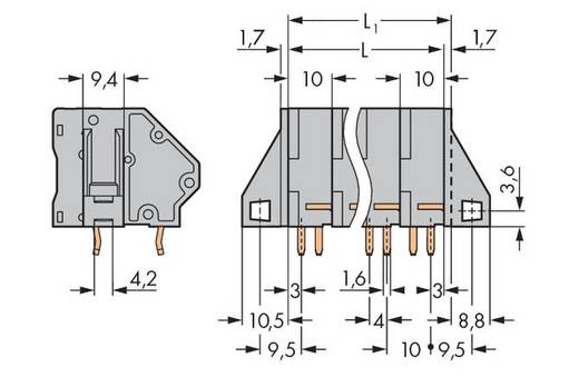 Federkraftklemmblock 16.00 mm² Polzahl 2 WAGO Grau 24 St.