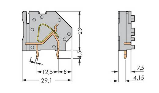 Federkraftklemmblock 6.00 mm² Polzahl 1 745-837 WAGO Grün-Gelb 100 St.