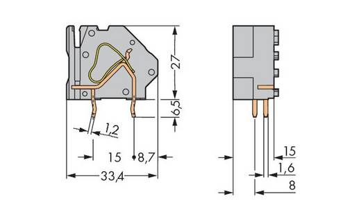 Federkraftklemmblock 16.00 mm² Polzahl 1 745-874/006-000 WAGO Blau 100 St.