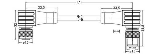 Sensor-/Aktor-Datensteckverbinder, konfektioniert M12 Stecker, gewinkelt, Buchse, gewinkelt 0.50 m Polzahl: 4 WAGO 756-3